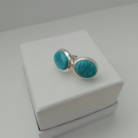 Loch and Sea Turquoise Blue Waves Silver oval stud earrings - Made in Scotland