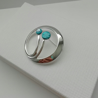 Loch and Sea Turquoise Blue Waves Silver Stems Brooch - Made in Scotland