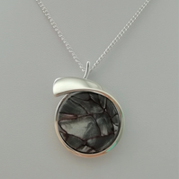 Stirling Rock Glossy Grey Round Over Necklace -    Made in Scotland