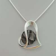 Stirling Rock Glossy Grey Silver Heart Necklace -    Made in Scotland