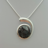 Stirling Rock Glossy Grey Wave Necklace -    Made in Scotland