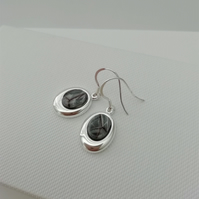 Stirling Rock Glossy Grey Oval Drop Earrings  -    Made in Scotland