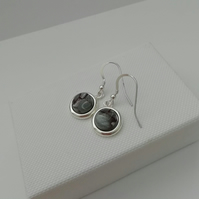 Stirling Rock Glossy Grey Round Drop Earrings  -    Made in Scotland