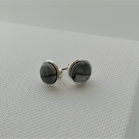 Stirling Rock Glossy Grey Round Stud Earrings  -    Made in Scotland