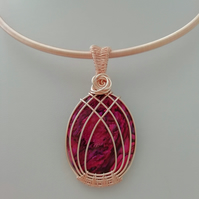 Celtic Rose Wire Wrapped Oval Red Abalone Necklace - Made in Scotland