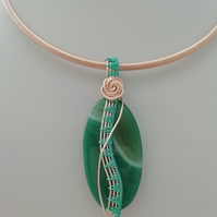 Curves and Waves Wire Wrapped Green Agate Necklace - Made in Scotland