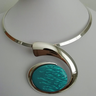 Loch and Sea Turquoise Blue Waves Silver Curved Necklace - Made in Scotland