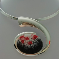 Red Poppies Silver Curved Necklace - Made in Scotland