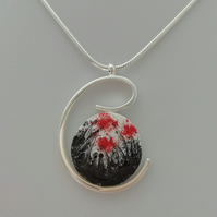 Red Poppies Silver Arc Necklace -    Made in Scotland