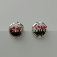 Red Poppies Round Stud Earrings  -    Made in Scotland