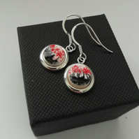 Red Poppies Silver Round Drop Earrings - Made in Scotland