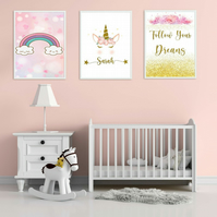 Unicorn  Personalised Poster Print