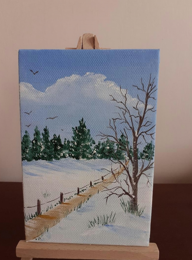 Original small winter landscape painting.(Ref M111)