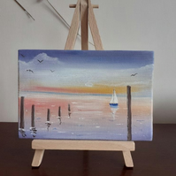 "Original Miniature Seascape Oil Painting entitled ""Early Morning over the Sea."""