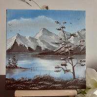 "A small original oil painting entitled ""A Lake in Winter"""