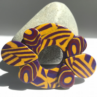 Bright, Bold & Beautiful Brooch in Glitter Gold, Maroon & Plum Polymer Clay