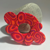 Bold & Beautiful Brooch in Glitter Red, Hot Pink & Tangerine Polymer Clay