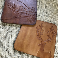 Bird and Stag Tan Leather Hide Coasters