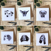 Dog Pen & Ink Sketch Blank Greetings Card