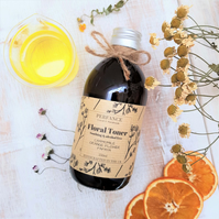 Face Toner Alcohol Free Organic Orange Flower and Chamomile, Papaya 250ml Glass