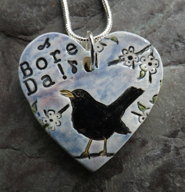 Handmade Ceramic Bore Da Blackbird heart pendant