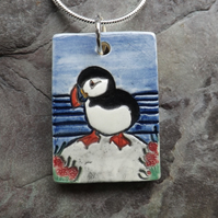 Handmade Ceramic Puffin Pendant in blue