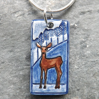 Handmade Ceramic Deer Pendant in blue
