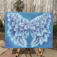 Original Painting on Canvas Angelic Wings 'Air & Water'