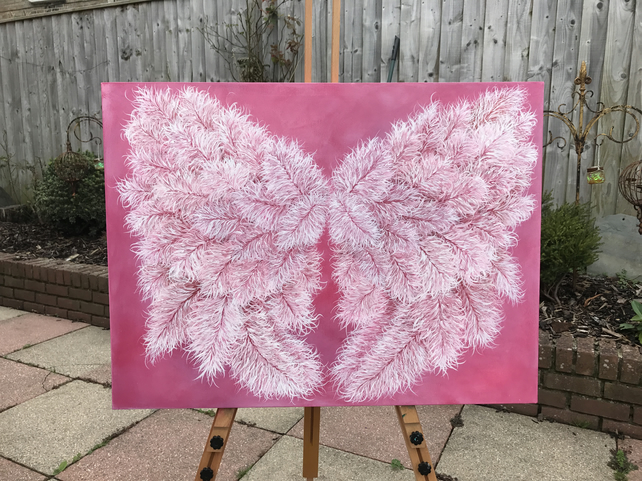 'Angelic Love' Love Wings painted in Acrylic on Canvas