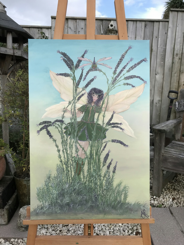 'Ava' Lavender Faery Painting in Acrylic on Canvas