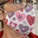 Ladies adult 'Hearts' shaped mask- 3 layer cotton-hand stitched-soft ear elastic