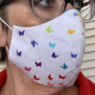 Ladies adult handmade 'Rainbow Butterflies' 3 layer cotton face mask-reversible
