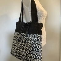 Fabric black  and white patterned tote bag