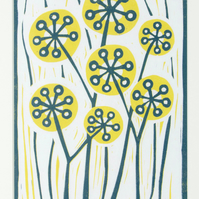 "Hand Printed Linocut Artwork ""Seed Heads in Summer"