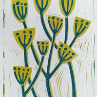 "Hand Printed Linocut Artwork ""Wild Parsley"""