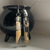 Cylindrical Shell and Driftwood Earrings