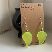 Glow In The Dark Leaf Earrings (UV Reactive)