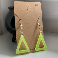 Glow In The Dark Triangle Earrings