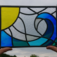 Stained glass leaded panel - sun and breaking wave