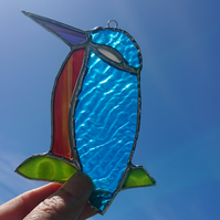 Stained glass turquoise orange kingfisher bird. Suncatcher hanging decoration.