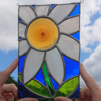 Stained glass white michaelmas daisy flower hanging panel in copperfoil