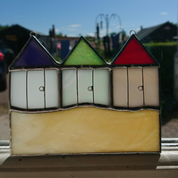 Stained glass three beach hut multi- coloured suncatcher hanging decoration