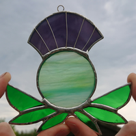 Stained glass green purple Scottish thistle suncatcher hanging decoration.
