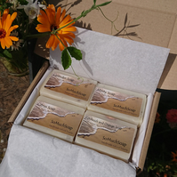 Soap gift box with four natural, plastic free, handmade soaps