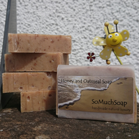 Honey and Oatmeal soap, luxurious, handmade, natural.