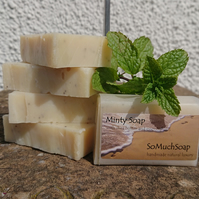 Minty soap, luxurious, handmade, natural.