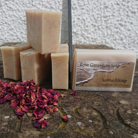 Rose Geranium soap, luxurious, handmade, natural.