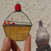 Stained glass cherry cupcake. Suncatcher hanging decoration.