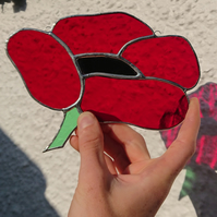 Stained glass Ruby red poppy flower, copperfoil suncatcher