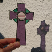 Stained glass purple Scottish Celtic Cross suncatcher hanging decoration.